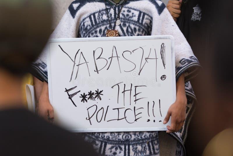 拿着海报的黑人生活问题抗议者在Ci的行军期间 免版税图库摄影