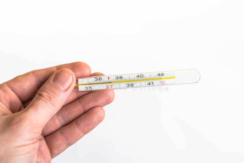 拿着温度计的手被隔绝在白色背景 库存照片