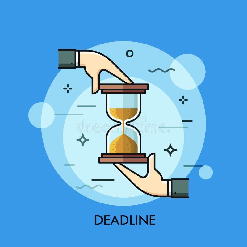 拿着滴漏或沙子定时器的两只手 最后期限,时间限制,任务安排,企业规划概念 皇族释放例证