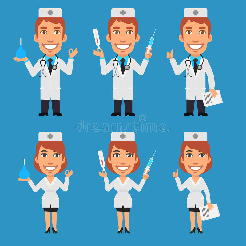 拿着灌肠注射器温度计的医生和护士 向量例证