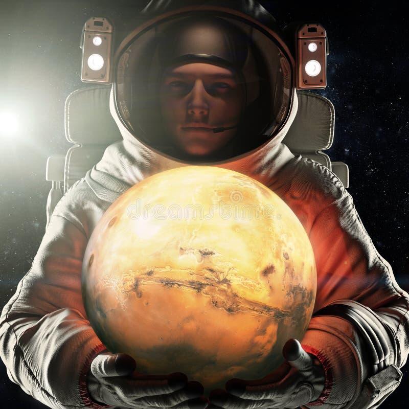 拿着火星的红色行星宇航员 探险和旅途到火星概念 3d翻译 用装备的这个图象的元素 皇族释放例证