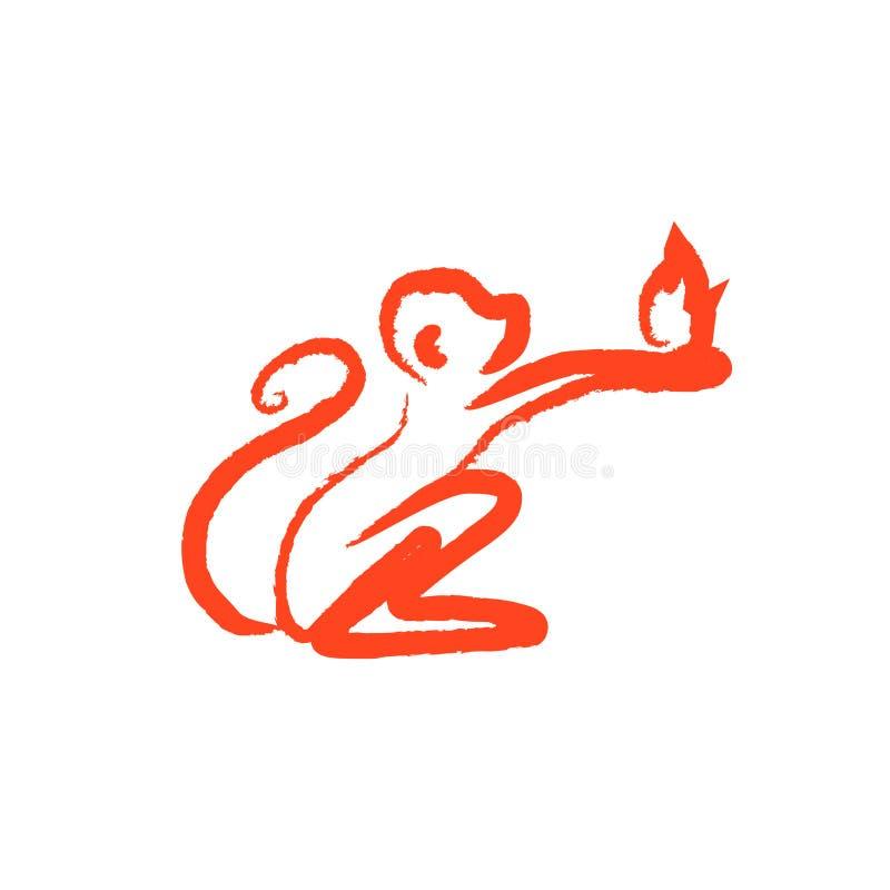 拿着火的小的猴子 向量例证