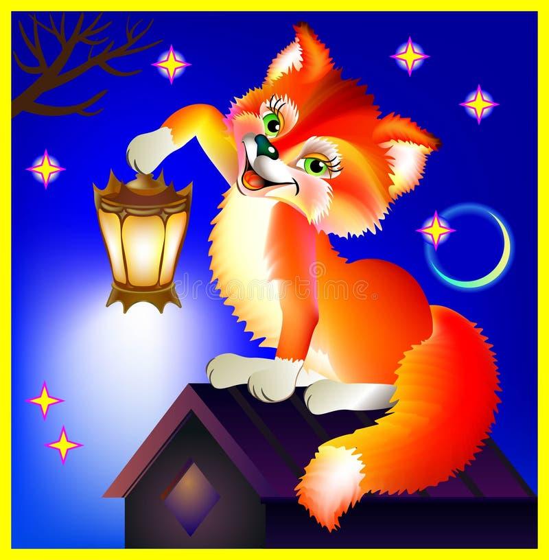 拿着灯笼的愉快的狐狸在晚上 向量例证