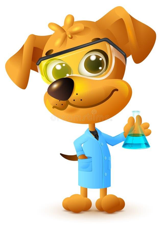拿着烧瓶的黄色老师狗 化学教训 皇族释放例证