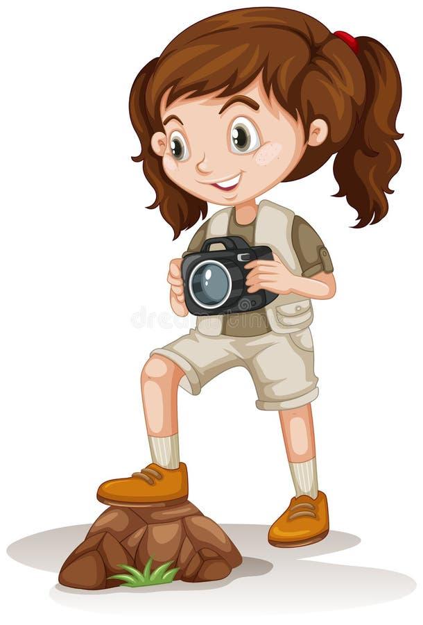 拿着照相机的小女孩 皇族释放例证