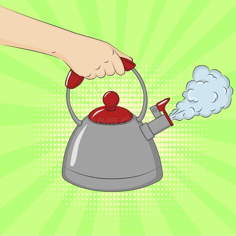 拿着煮沸的水壶的手 E 漫画样式的模仿 ?? 库存例证