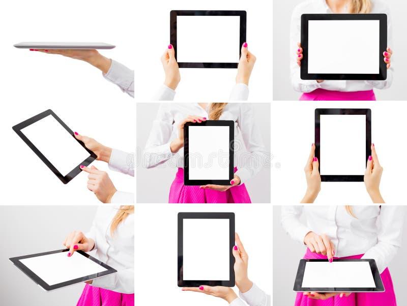 拿着片剂计算机,不同的照片拼贴画的妇女  免版税库存照片