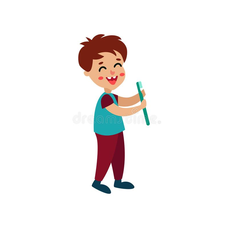 拿着牙刷,动画片传染媒介例证的微笑的小男孩字符 皇族释放例证