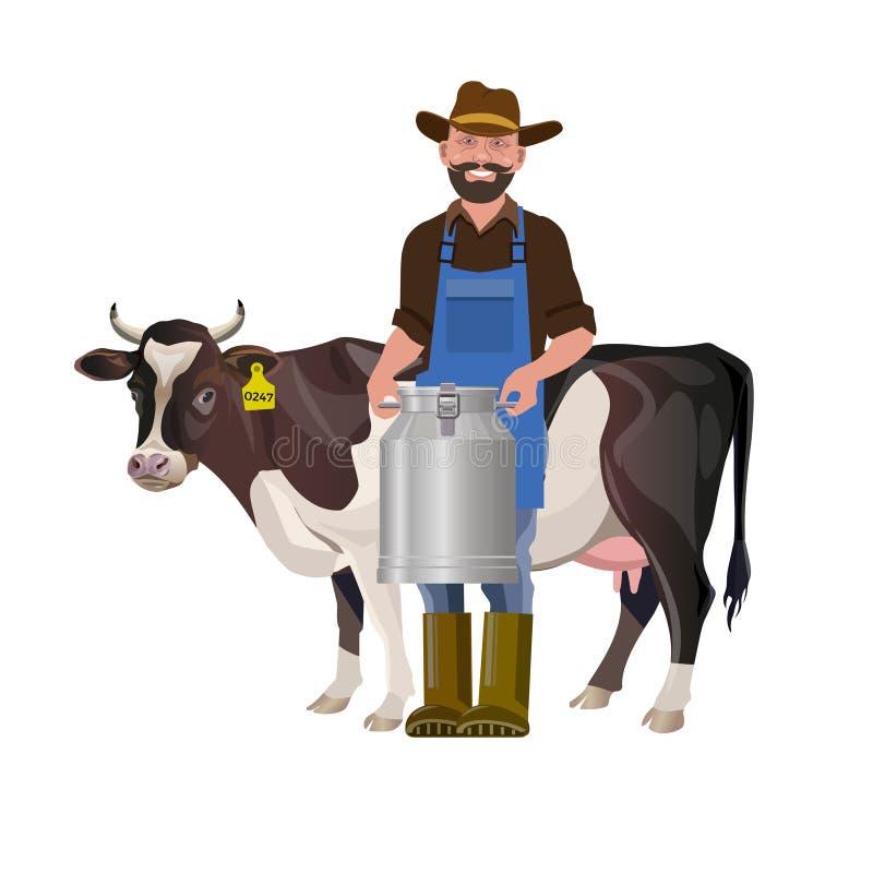拿着牛奶搅动的农夫 向量例证