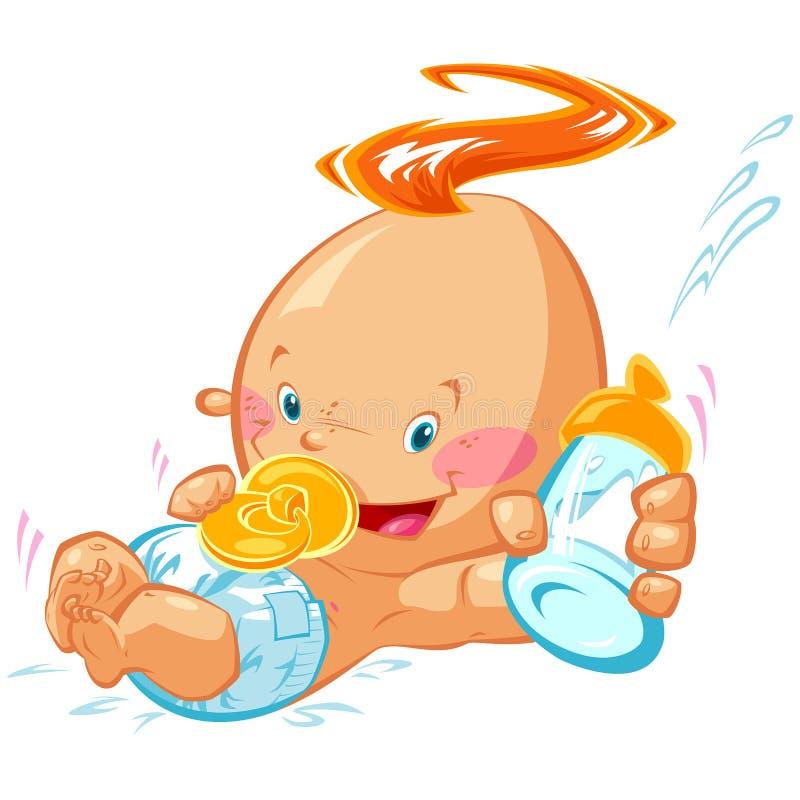 拿着牛奶瓶和钝汉的动画片愉快的微笑的男婴 向量例证