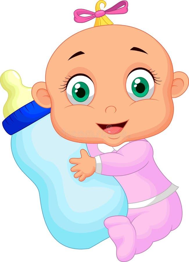 拿着牛奶瓶的女婴 库存例证