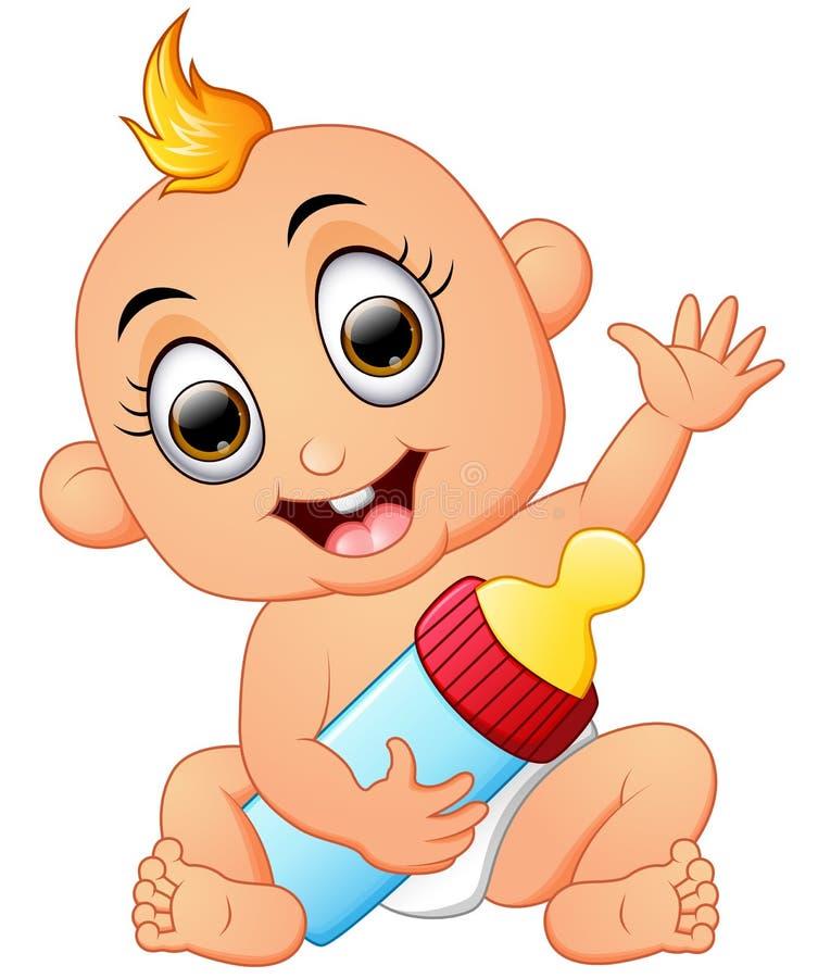 拿着牛奶瓶的愉快的婴孩动画片 库存例证