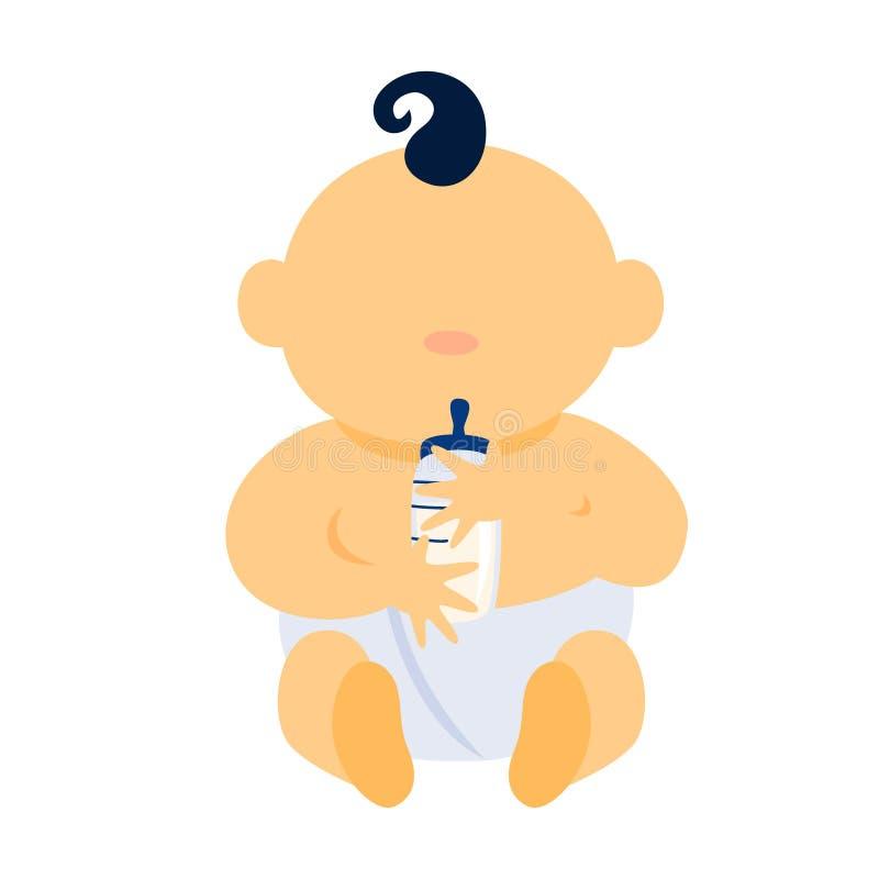 拿着牛奶瓶的逗人喜爱的矮小的男婴 皇族释放例证