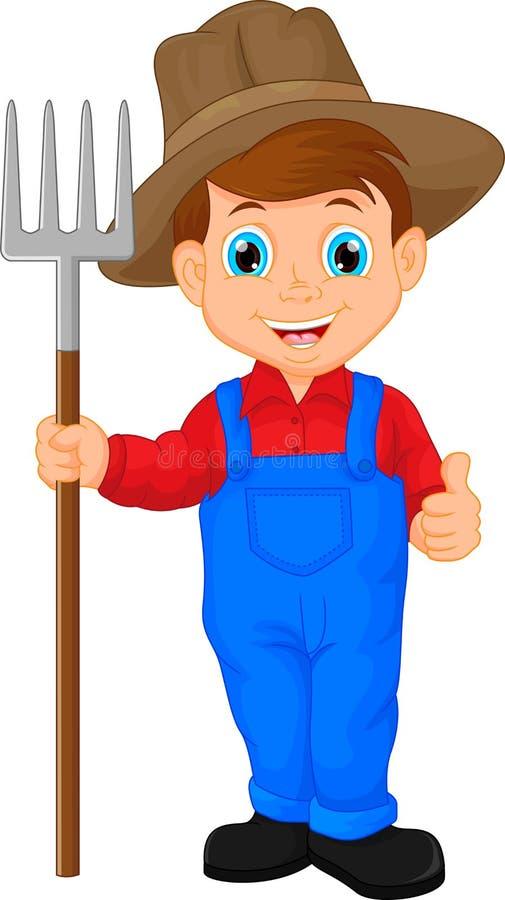 农夫卡通画_拿着犁耙的动画片年轻农夫