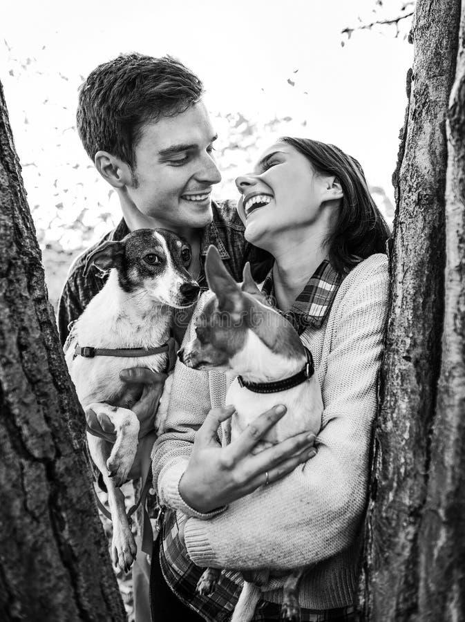 拿着狗的愉快的年轻夫妇在公园 免版税库存照片
