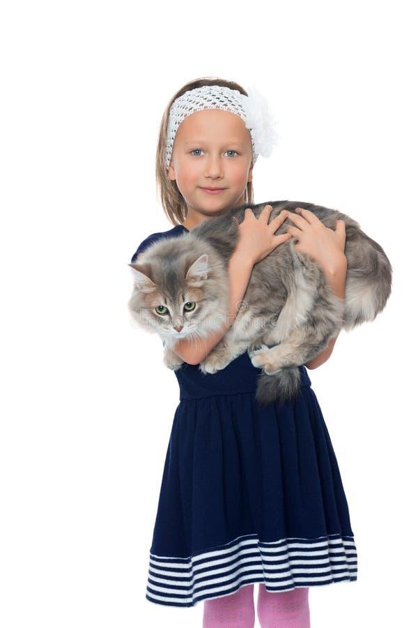 拿着猫的女孩 库存照片