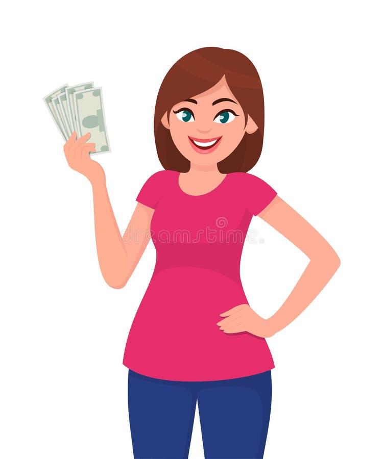 拿着现金/货币/金钱的俏丽的妇女手中 库存例证
