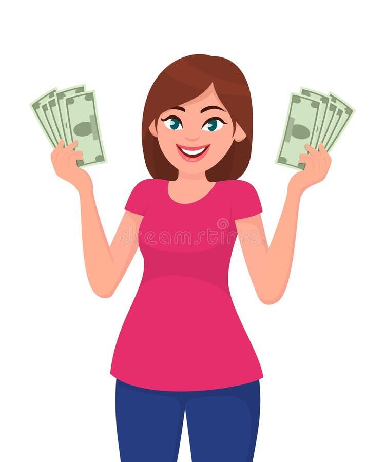 拿着现金/金钱在手上的少妇 皇族释放例证