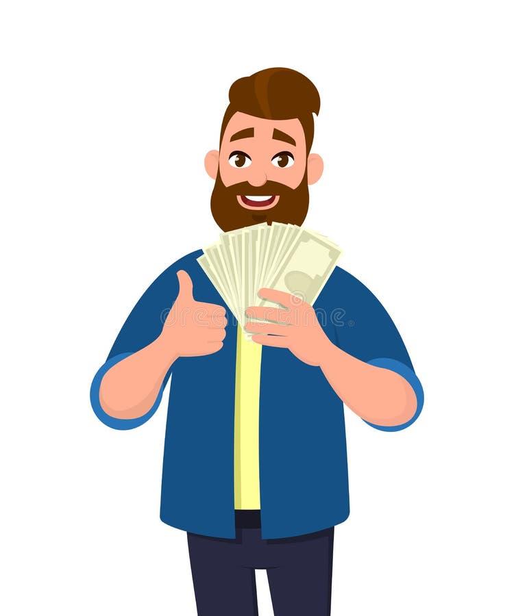 拿着现金/金钱/钞票的愉快的年轻人,显示赞许 库存例证