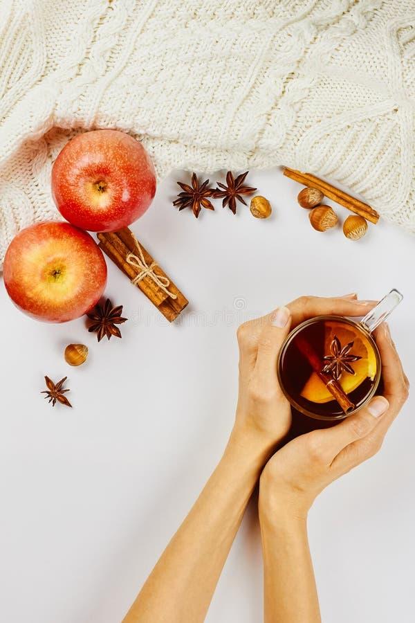 拿着玻璃杯子热的辣发球区域用苹果和橙色切片,桂香和茴香的女性手在白色背景 库存图片