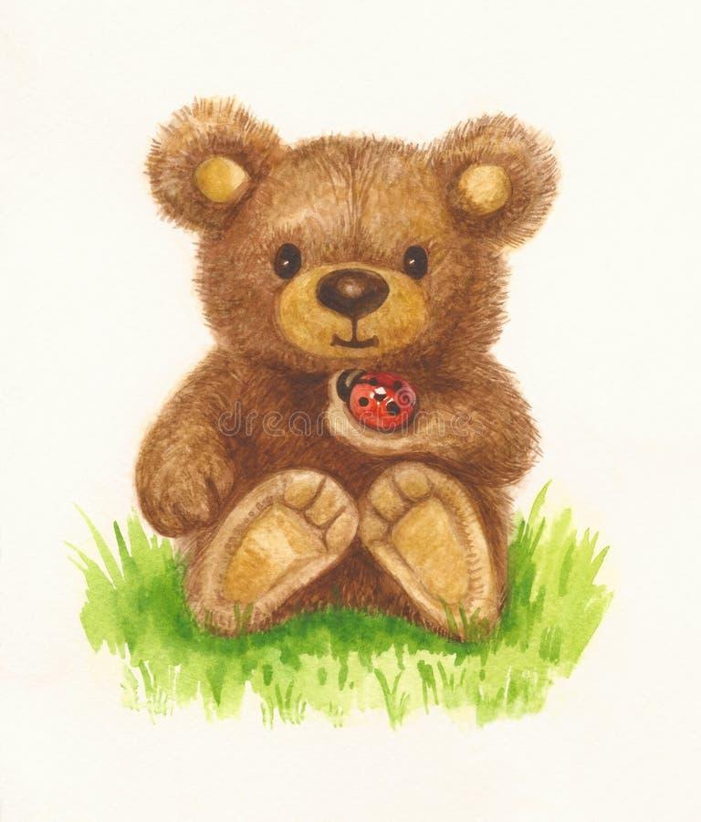 拿着瓢虫的熊 向量例证