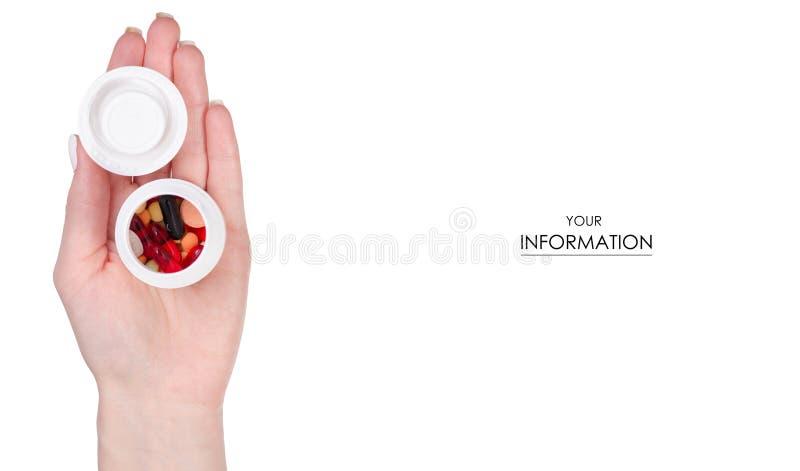 拿着瓶子药片的女性手压缩医学样式 库存图片