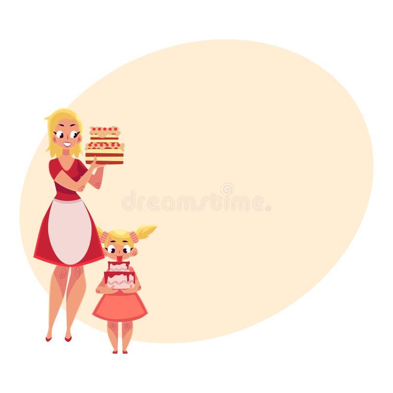 拿着生日蛋糕的母亲和女儿,准备好党 库存例证