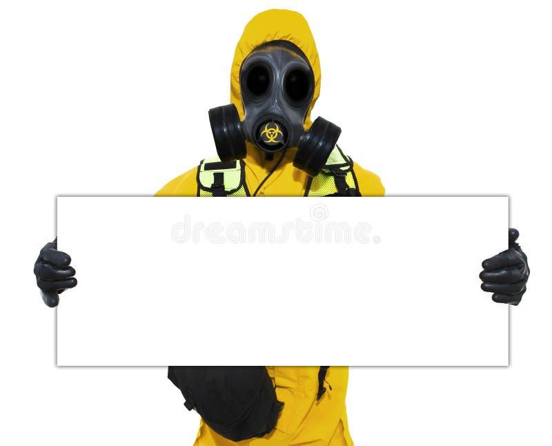 拿着生物危险等级符号的人员 免版税库存照片