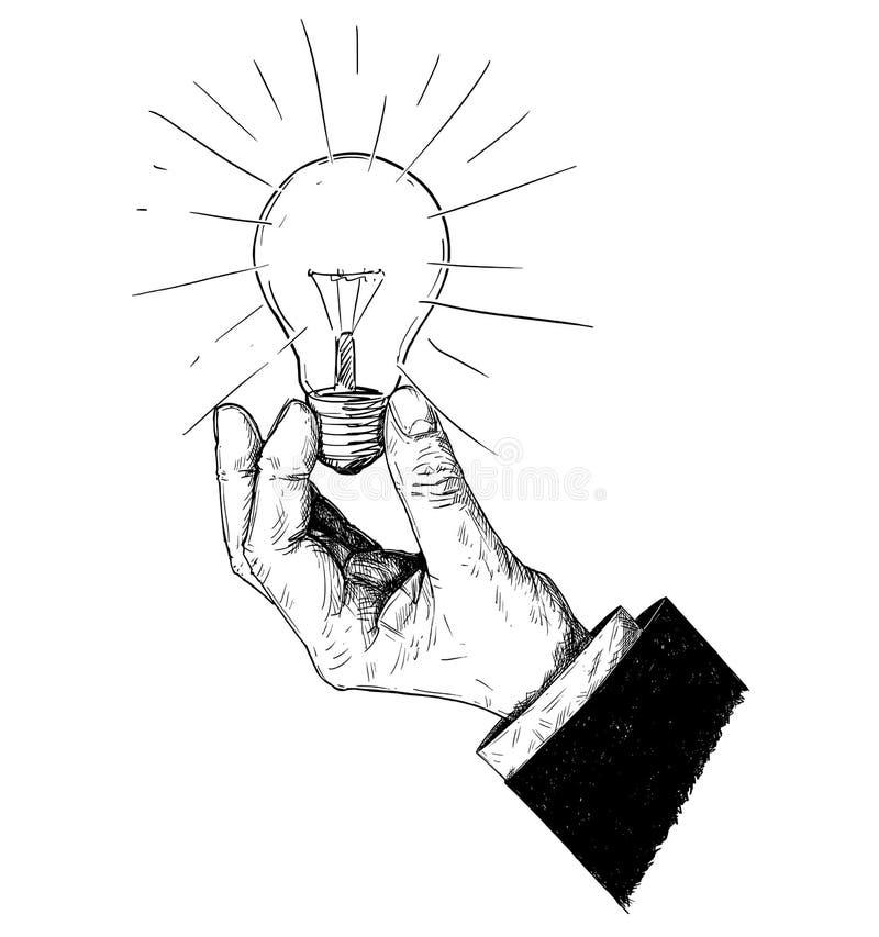 拿着电灯泡的商人的手的传染媒介艺术性的画的例证 库存例证