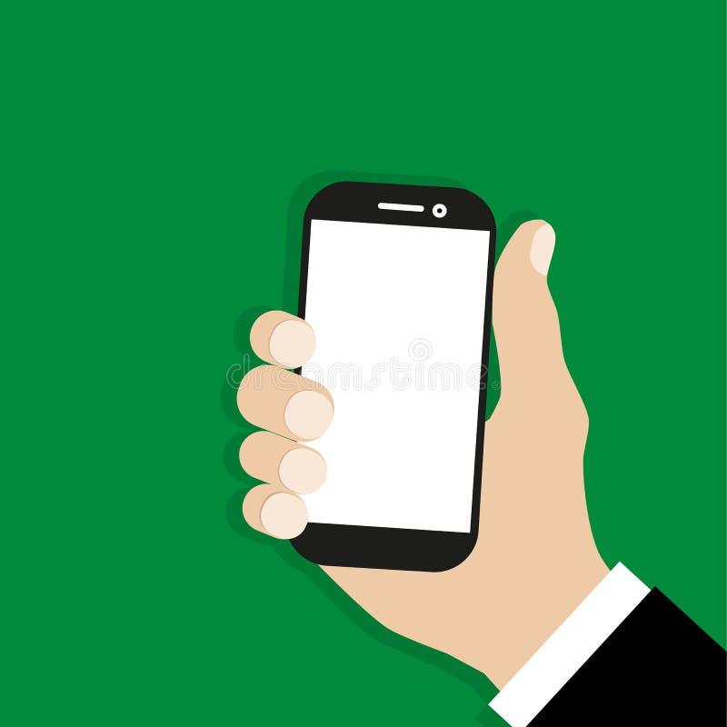 拿着电话的手 网横幅的,站点, infographics设计平的动画片例证 向量 库存例证