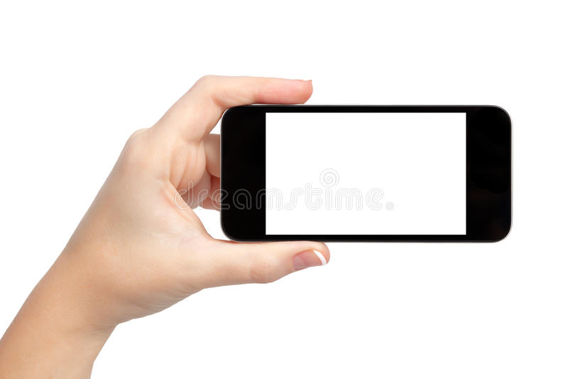 拿着电话的查出的妇女现有量 免版税库存照片