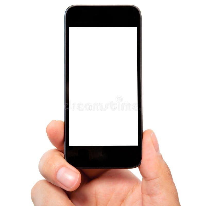 拿着电话的被隔绝的人手 图库摄影