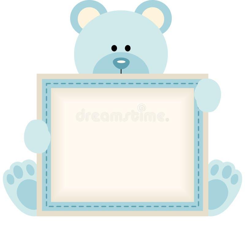 拿着男婴公告的逗人喜爱的玩具熊空白的标志 库存例证