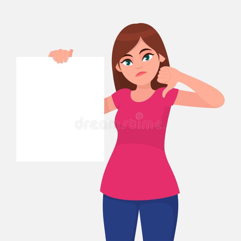拿着白皮书或委员会空白/空的板料和打手势在标志下的不快乐的年轻女人拇指 库存例证