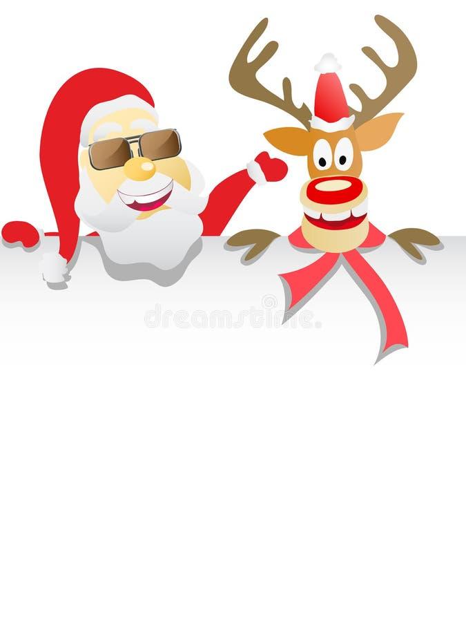 拿着白纸的圣诞老人和驯鹿 皇族释放例证