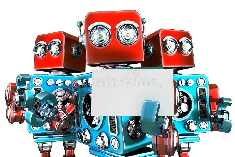 拿着白色名片的小组机器人 裁减路线 皇族释放例证