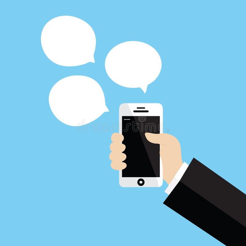 拿着白色智能手机的手 向量例证