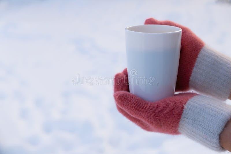 拿着白色杯子茶或咖啡的手套的妇女在雪 免版税库存图片