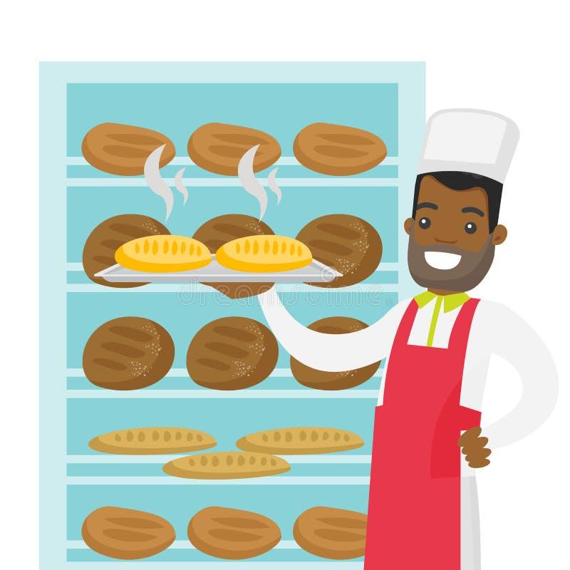 拿着盘子用面包的非裔美国人的面包师 向量例证