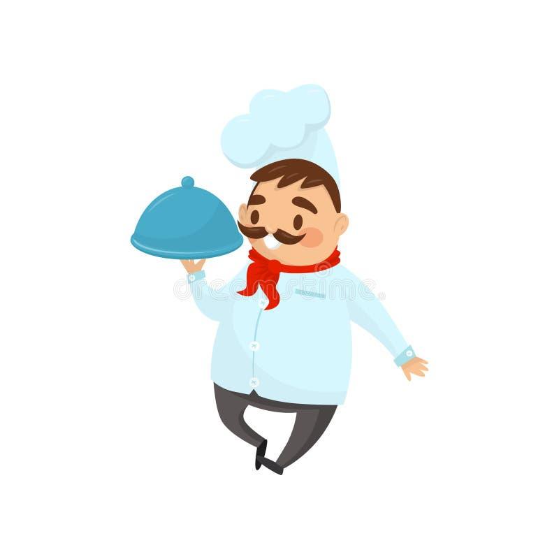 拿着盘的专业餐馆厨师手中 有髭的滑稽的人在制服 海报的平的传染媒介设计或 皇族释放例证