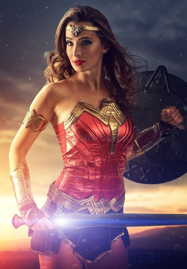 拿着盾和剑的美好的超级英雄 库存例证