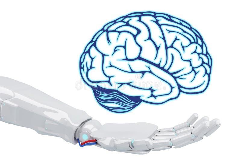 拿着真正脑子的白色机器人手 皇族释放例证