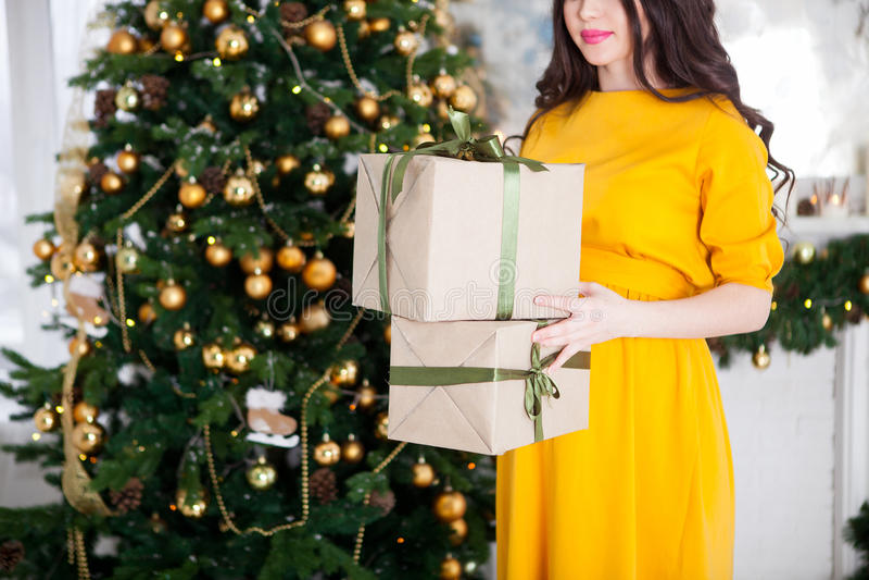拿着礼物的愉快的美丽的孕妇在圣诞节tr附近 图库摄影