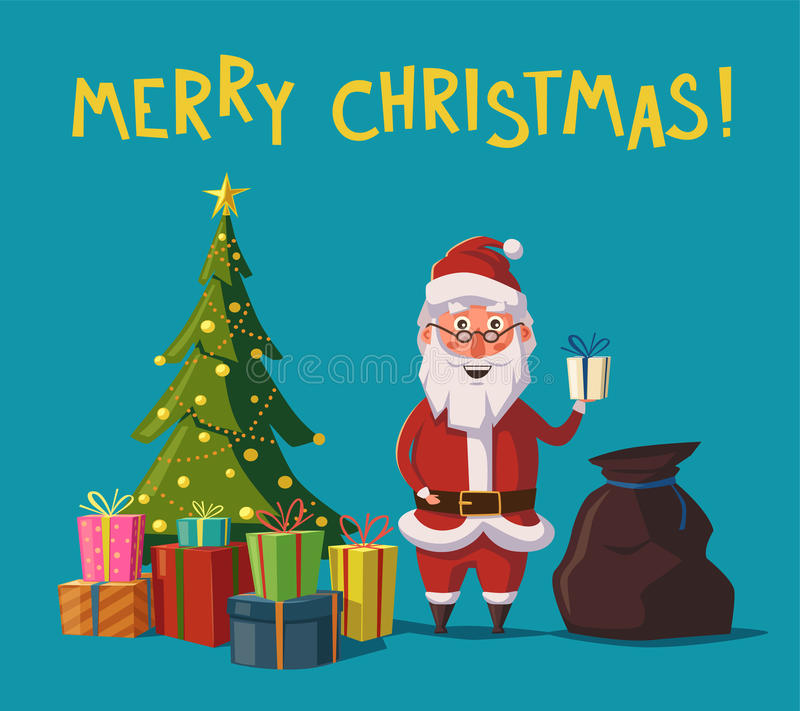 拿着礼物的滑稽的圣诞老人手中 外籍动画片猫逃脱例证屋顶向量 皇族释放例证