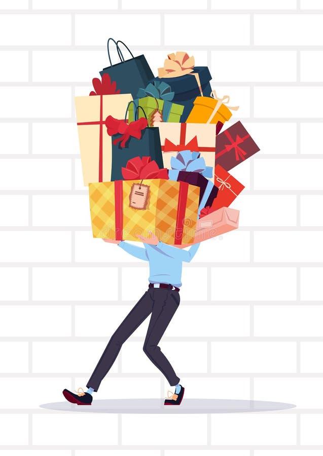 拿着礼物盒堆的人在白色砖墙背景假日提出概念 库存例证