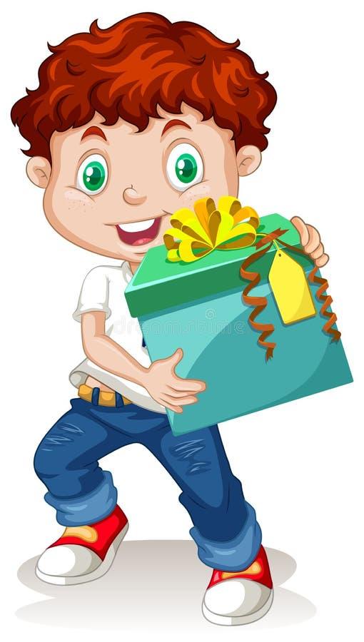 拿着礼物盒的小男孩 向量例证