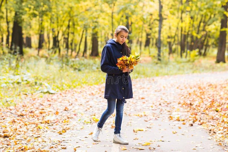 拿着秋叶花束和微笑,在森林背景的年轻美丽的愉快的青少年的女孩妇女  免版税库存照片
