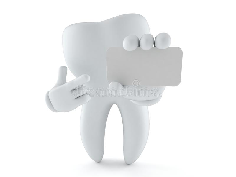 拿着空白的名片的牙字符 向量例证