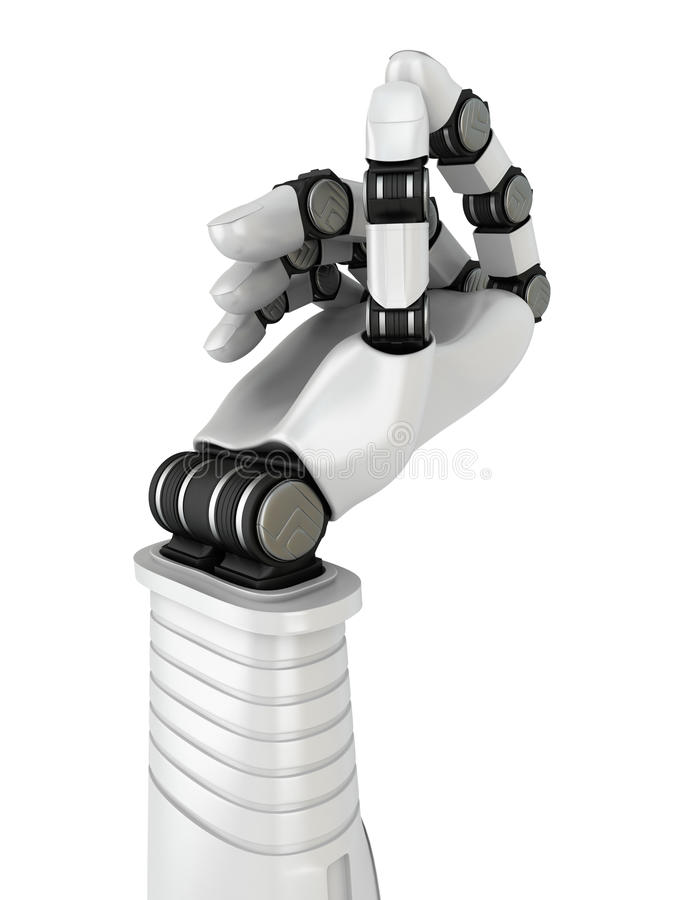 拿着空白的对象的未来派机器人手 向量例证