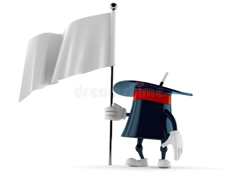 拿着空白的旗子的不可思议的帽子字符 向量例证